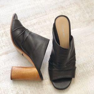 Black Leather Wood Heel Mules